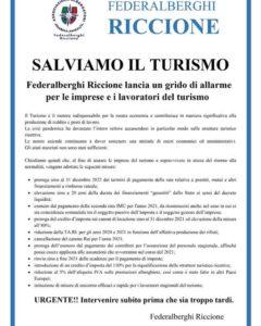 SALVIAMO IL TURISMO Federalberghi Riccione lancia un grido di allarme per le imprese e i lavoratori del turismo. URGENTE!! Intervenire subito prima che sia troppo tardi.