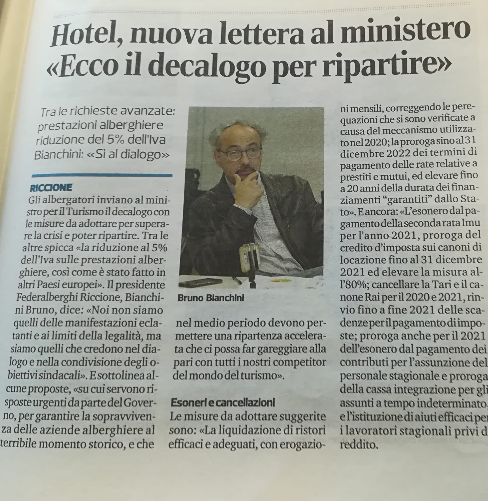 """Le proposte di Federalberghi Riccione al ministro Garavaglia: """"Risposte urgenti"""""""